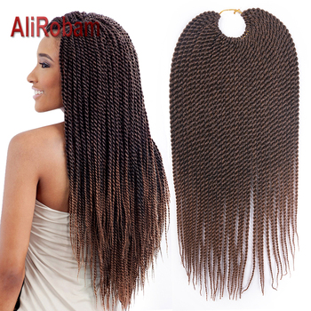 AliRobam Crochet Braids Ombre Brown Grey Braided Hair Low Temperature Synthetic Braiding Extensions small Senegalese Twist
