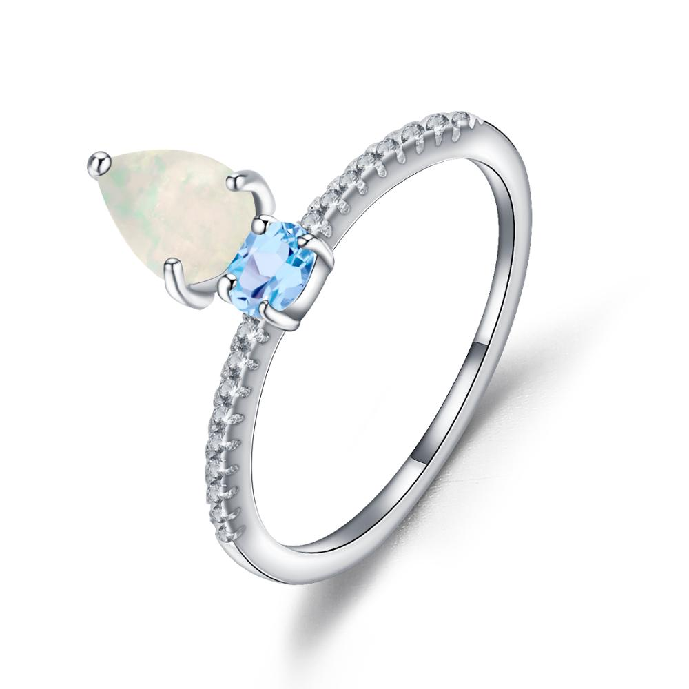 GEM'S BALLET Natural African Opal Swiss Blue Topaz Ring 925 Sterling Silver Water Drop Gemstone Rings For Women Wedding Jewelry