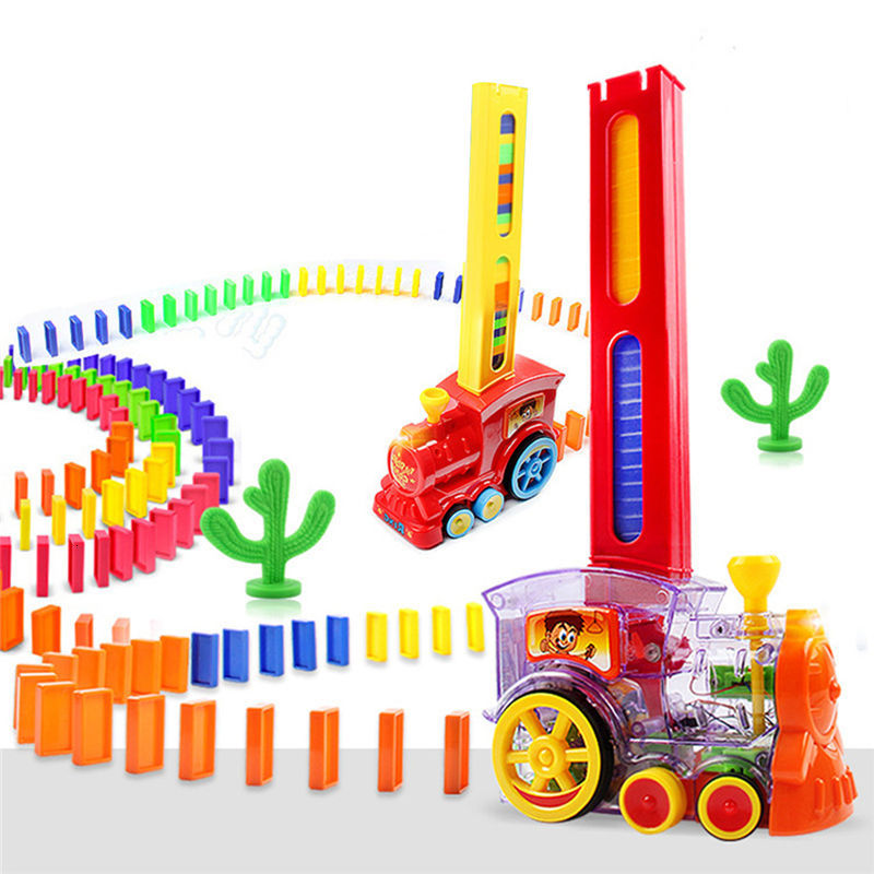Domino Train Toy Set , Rally Electric Train Model With , 60 Pcs Colorful Domino Game Building Blocks Car Truck Vehicle Stacking