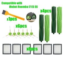 6 * Hepa filtre + 6 * yan fırça 4 * fırça rulo değiştirme iRobot Roomba i7 E5 e6 I serisi robotlu süpürge yedek parça