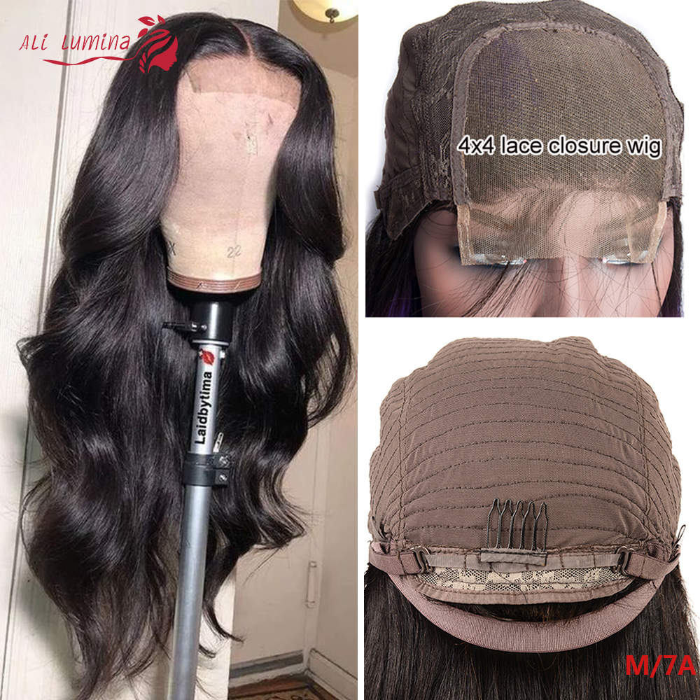 4x4 Closure Wigs Transparent Lace Wiggins Hair Wig Pre Plucked 180% Brazilian Human Hair Wigs Remy Body Wave 30 Inch Wig