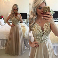 Long Party Dress Elegant Prom Dresses With Lace Steep Sleeves On The Back Formal Dresses Round Necked Floors