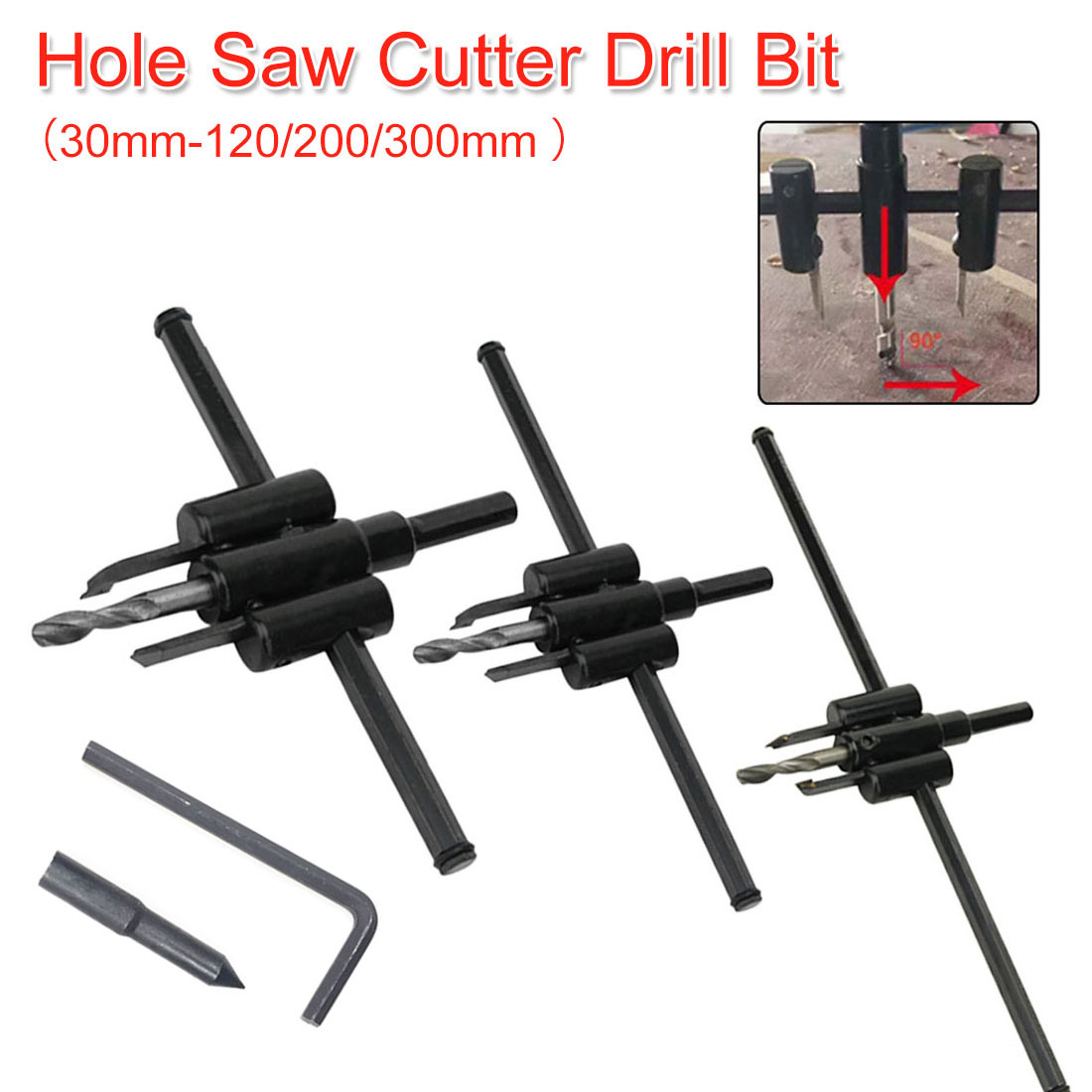 Woodworking Tools Circle Hole Saw Adjustable Drill Bit 30mm-120/200/300mm Aircraft Type Wood Circle Hole Saw Cutter Cordless