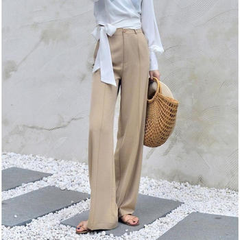 170-175cm Spring Summer Wide Leg Pants Women Elastic High Waist Pants Elegant Office Ladies Khaki Trousers Plus Length 1