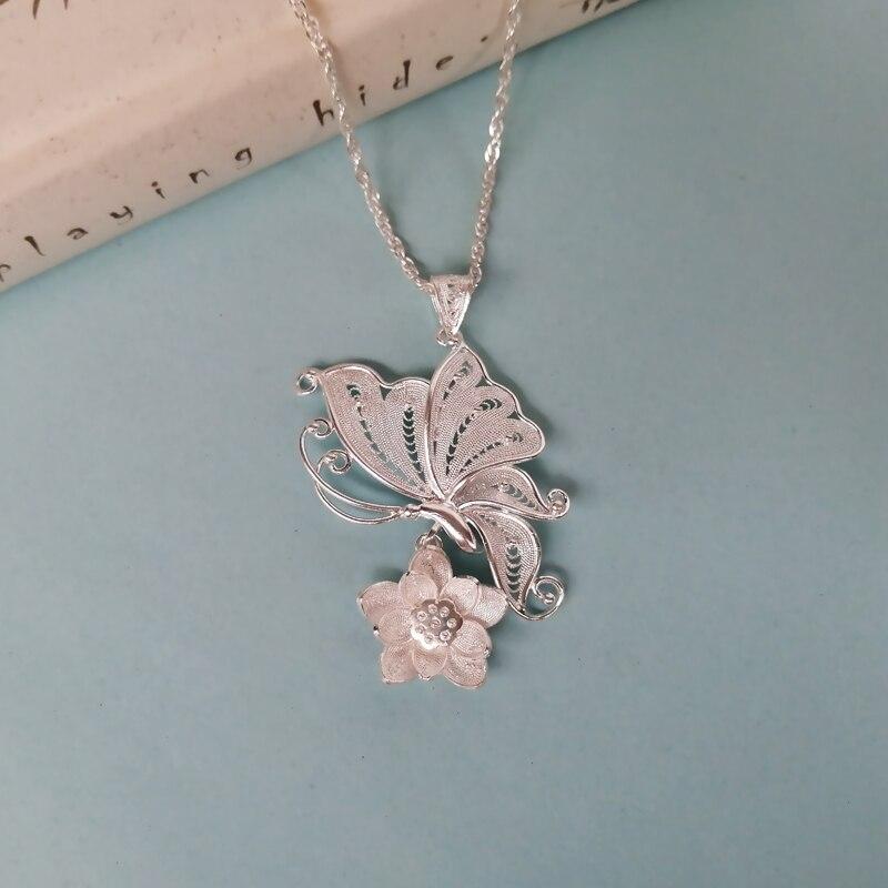 Bastiee 999 en argent Sterling papillon pendentif collier rétro femmes pendentifs Chakra ethnique fait à la main de luxe bijoux Miao argent