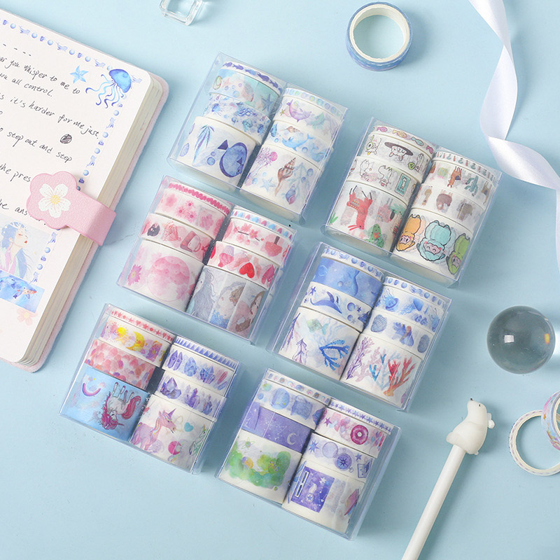 8 Pcs/Set Cute Unicorn Whale Washi Tape Kawaii Masking Tape Decorative Adhesive Tape Sticker Scrapbooking Diary Stationery Tape