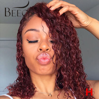 Beeos 99J Burgundy 180% 13*6 Lace Front Human Hair Wig Peruvian Remy Short Curly Bob Hair Colored Wigs Preplucked Hairline