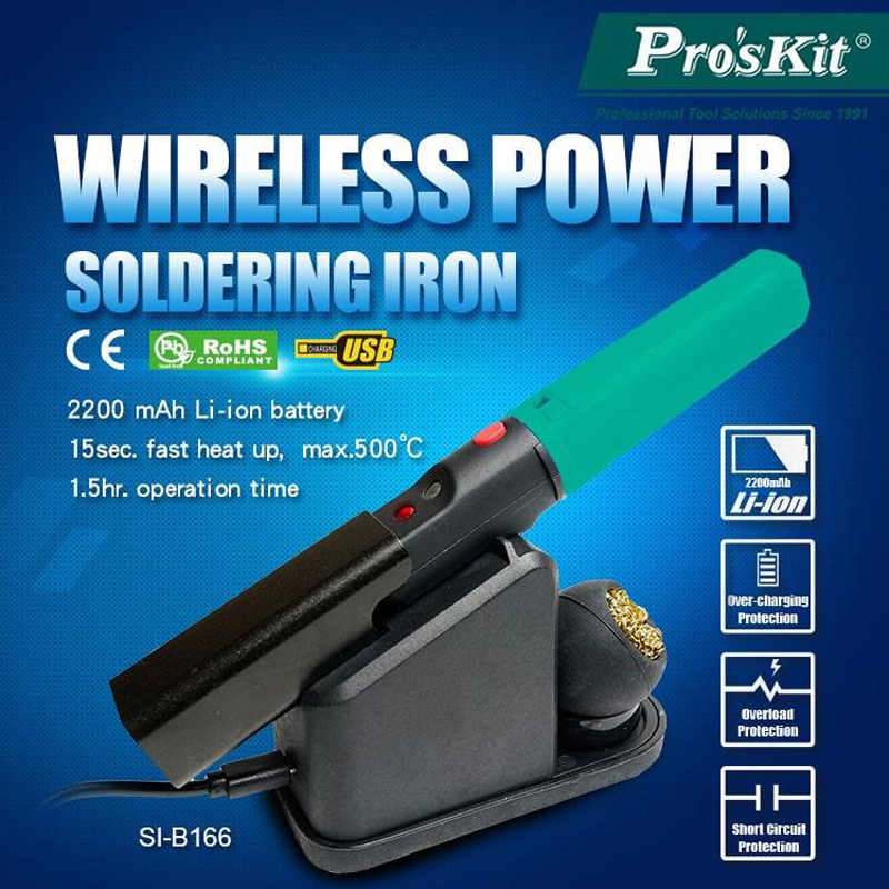 ProsKit Wireless Power Soldering Iron Portable USB Electric Soldering Iron Charging Stand 2200mAh Battery Tin Soldering Iron Set