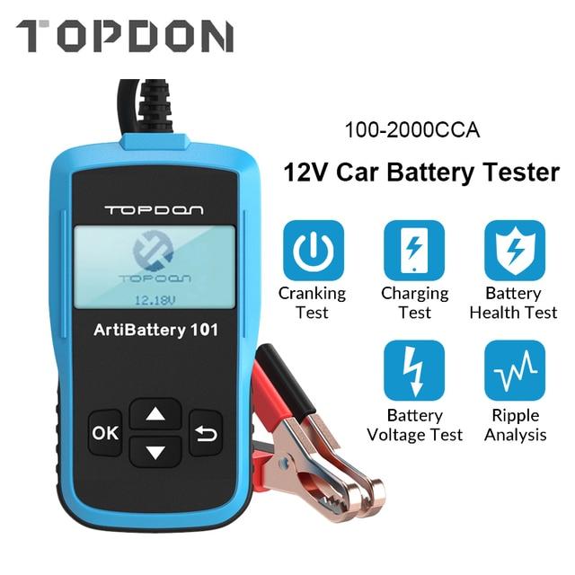 Tester della batteria dellautomobile di TOPDON AB101 12V Test della batteria di tensione analizzatore del caricatore automobilistico 2000CCA Tester di Circut di ricarica a manovella per auto