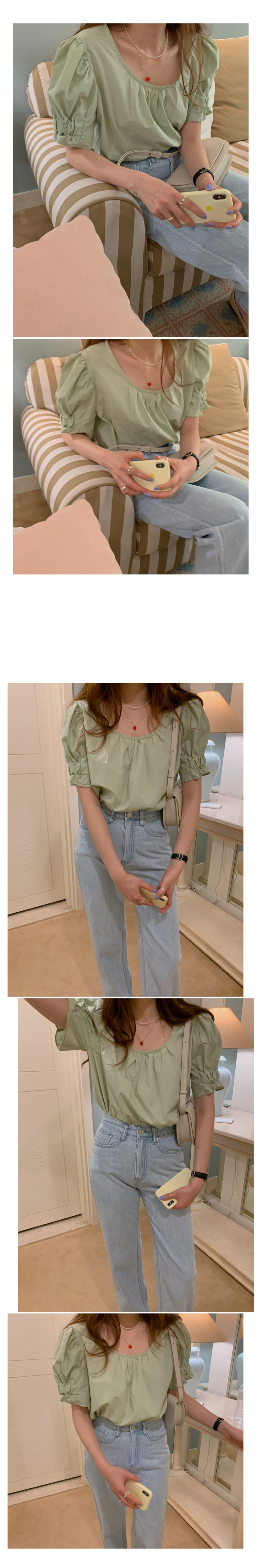 H154272a8fae647d2911e01d4248769a4F - Summer O-Neck Short Puff Sleeves Cotton Loose Solid Blouse