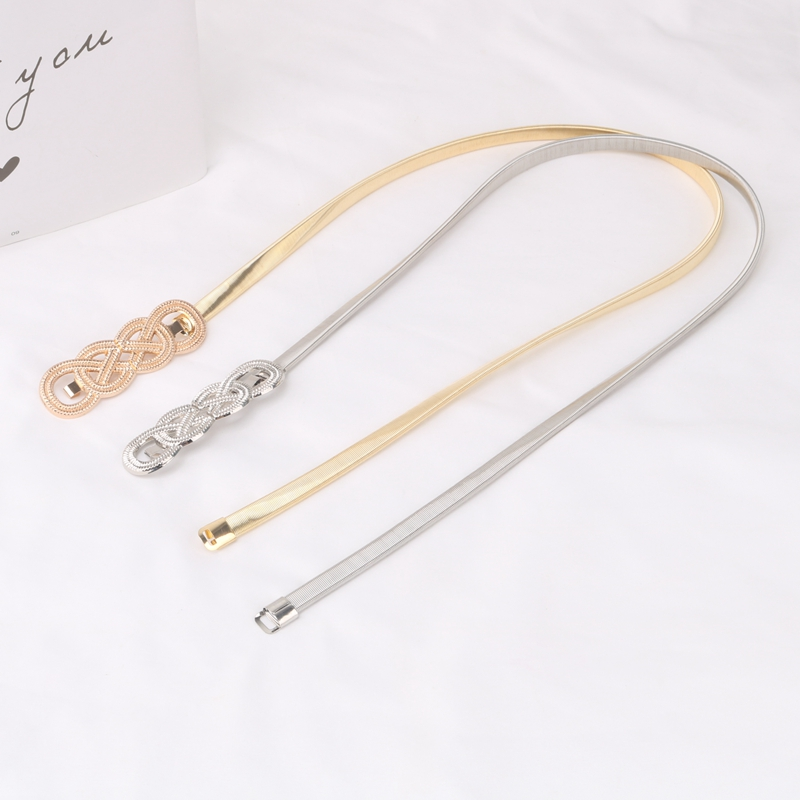 H154292743e8f4044a9b0501fd1282be3O - Metal Belts for Women Designer Brand Women Skinny Bow knot Belt Female Gold Silver Color Waist Chain Elastic Thin Cummerbunds