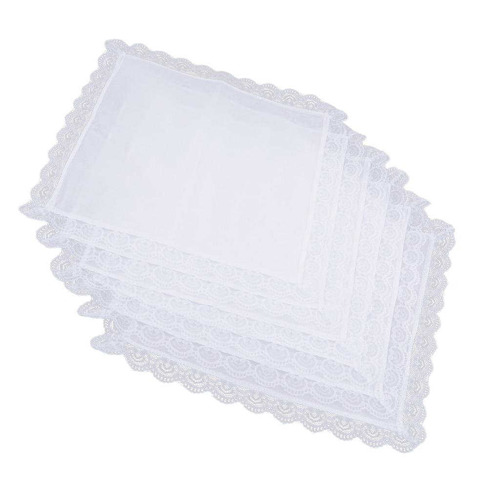 5 Pcs Men Women 100% Cotton White Handkerchiefs Comfy Hanky Hankies Kerchief