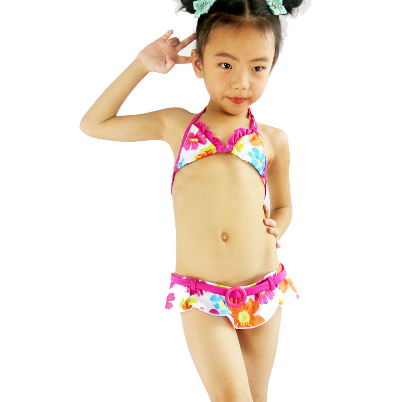 New Style Big Boy Cute Flowers Print Split Type CHILDREN'S Bikini Skirt Swimwear GIRL'S Swimsuit Wholesale Foreign Trade