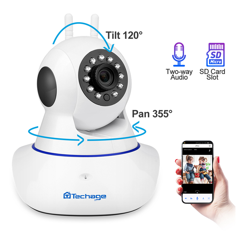 Techage 1080P Wireless IP Camera IR Night Vision Baby Monitor Dome Indoor 2-Way Audio Video CCTV Wifi Security Surveillance
