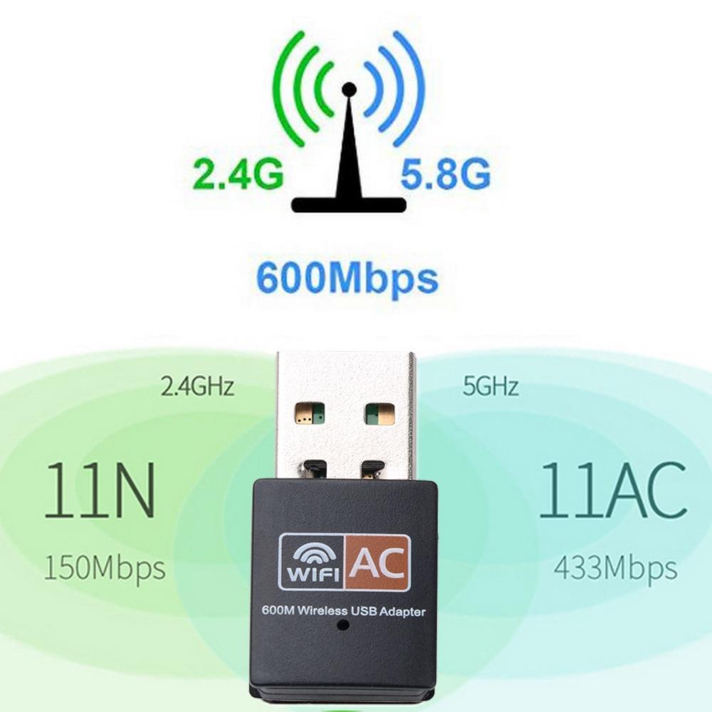 Hot USB WiFi Adapter 600Mbps 2.4GHz 5GHz WiFi Antenne Dual Band 802.11b/n/g/ ac Mini Draadloze Computer Netwerkkaart Ontvanger 2