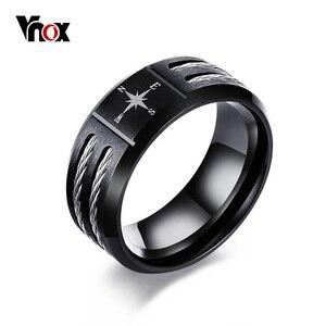 Vnox Compass Black Men Ring Tw