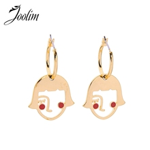 JOOLIM Gold Color Face Hoop Earring Stylish