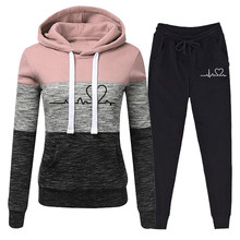 Casual agasalho feminino duas peças conjunto camisolas pulôver hoodies terno feminino calças jogger outfits chandals mujer tamanho S-4XL