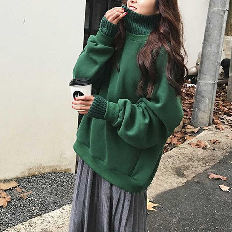 두 조각 플러스 Pullovers 두꺼운 후드 스웨터 바느질 높은 칼라 가짜 여성 겨울 한국 학생 느슨한 땀