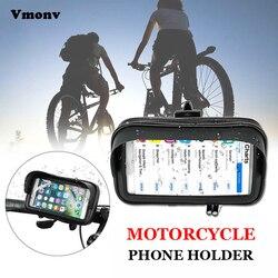 Vmonv rower motocykl komórka torba na telefon dla iPhone 8P XR Samsung S9 wodoodporna jazda na rowerze kierownica Case pomoc do montażu GPS