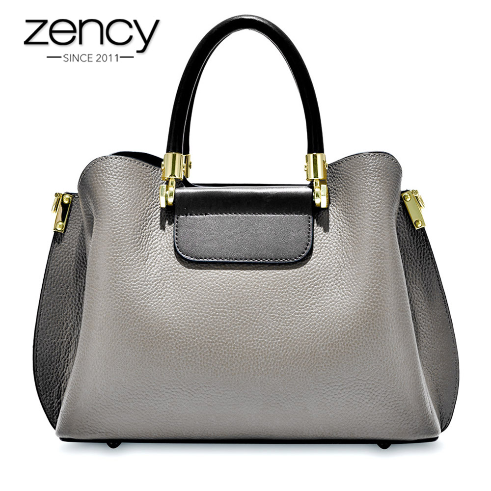 Zency 100% Genuine Leather Fashion Brown Office Lady Tote Handbag Female Crossbody Messenger Purse Large Capacity Shoulder Bags