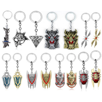 Game LOL Keychain League of Legends Jinx cannon Keyring Iron Solari Leona Teemo Weapon Pendant Key Chain Metal Buckle Jewelry 1