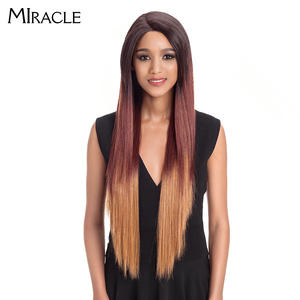 Ombre Wig Synthetic-Hair Heat-Resistant Lace-Front Straight Colorful Black-Women Long