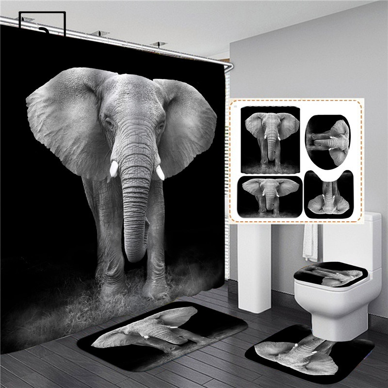 3D Black Elephant Print Shower Curtains Set Waterproof Bathing Screen Flannel Toilet Lid Cover Kitchen Mat Bathroom Rug Carpet