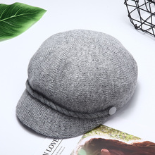 Regibetty korean style Spring and Autumn hat for  octagonal hat women caps Sun protection peaked cap thin knit beret