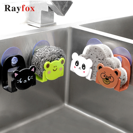 Cartoon Kitchen Sink Storage Rack Sponge Wipe Layout Rack Suction Cup Bathroom Debris Rack Kitchen Tool Accessories Cute Animals