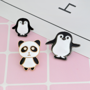Cartoon animal Pin Panda Mama and baby penguin Brooch Button Pins Denim Jacket Pin Badge Childlike Gift Jewelry for Kids image