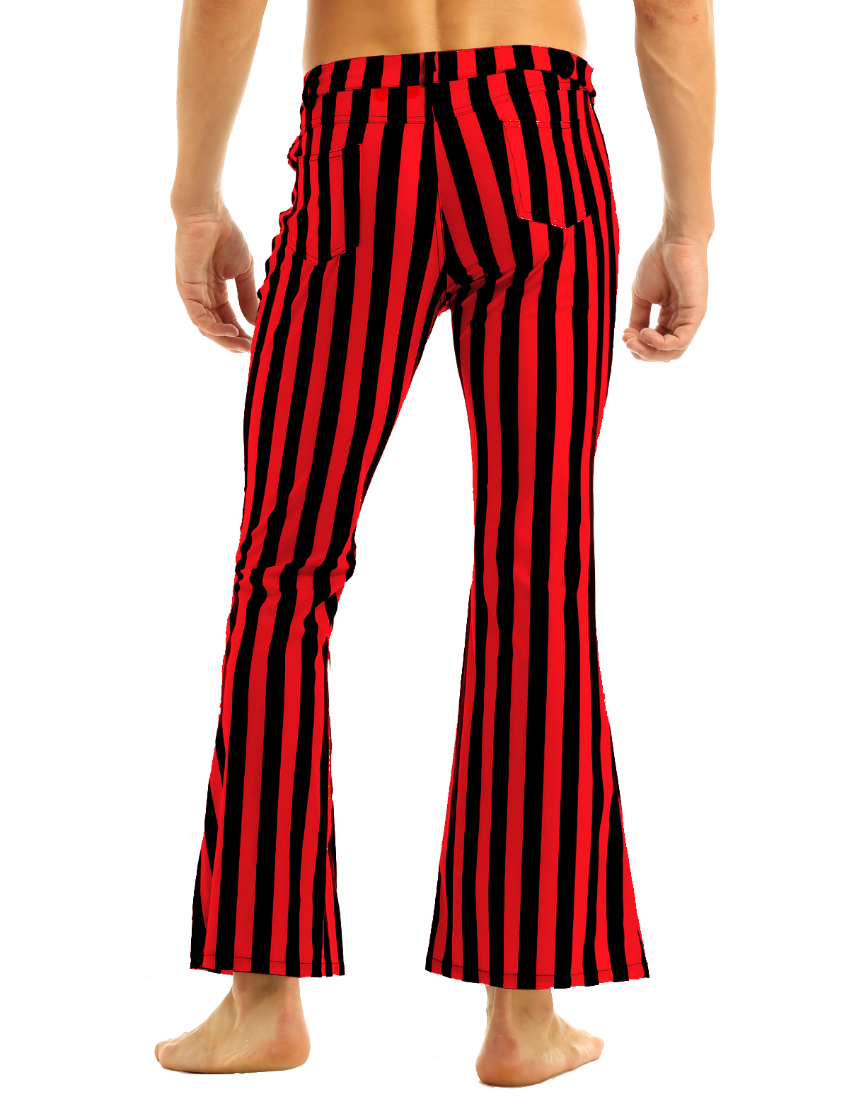 Halloween Party Costume for Men Vintage Stripe Pant Male Long Pant Stretch Bell Bottom Trousers Western Streetwear Clothes Homme 16