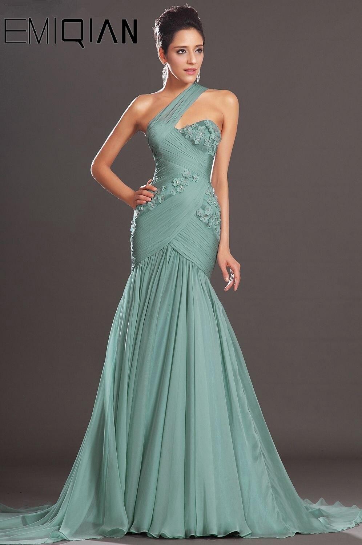 Free Shipping New Charming Mermaid Gown One Diagonal Shoulder Chiffon Evening Dress