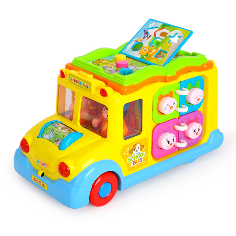Huile Toys 796 Intellectual Campus Bus Crawling  Educational La Xian Che Children Learn To Climb  Early Education Toy