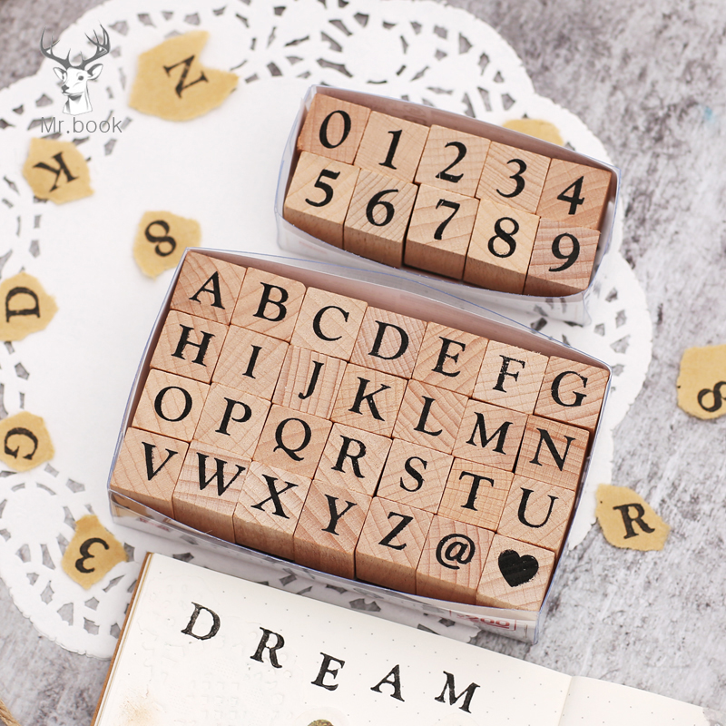 Vintage Wooden Alphabet Number Stamps Set Diary Decoration Ablum Wedding Alphabet Stamp Office School Stationery