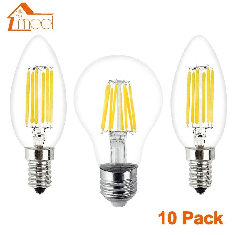 Светодиодный светильник E27/E14, 10 шт., 220 В, светодиодный светильник накаливания, 2 Вт, 4 Вт, 6 Вт, 8 Вт|Светодиодные лампы и трубки|   | АлиЭкспресс