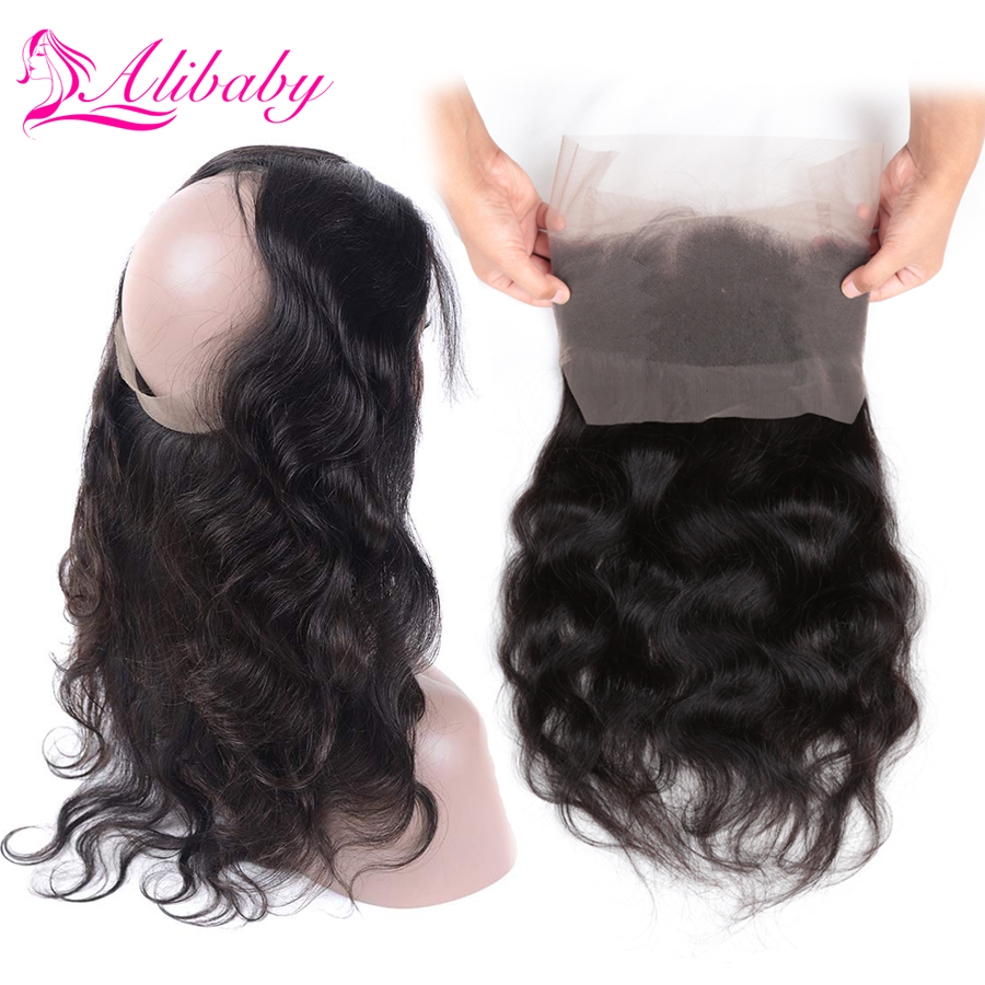Alibaby 360 Lace Frontal Closure With Baby Hair Body Wave Natural Color Human Hair Closure 8-20 Inch Swiss Lace Malaysian Hair