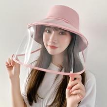 Proteção contra poeira chapéu de balde de viagem ao ar livre uv proteger chapéu de pescador chapéus de proteção solar protetor facial máscara transparente