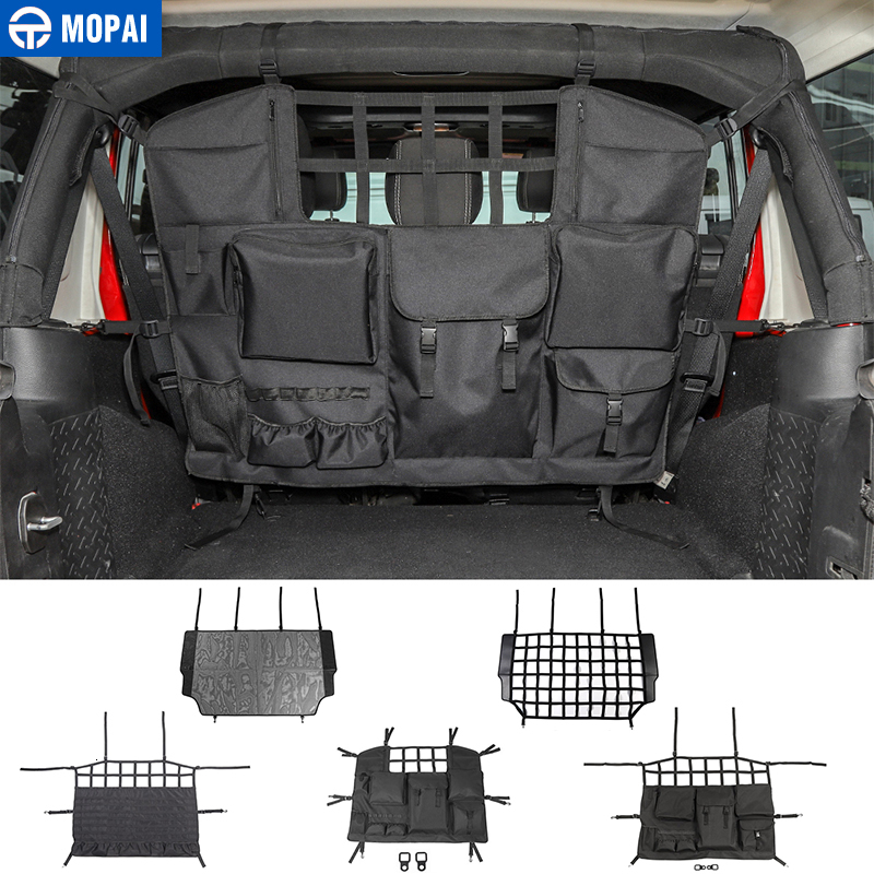 MOPAI Stowing Tidying for Jeep Wrangler JK JL Car Trunk Pet Isolation Net Storage Bag Accessories for Jeep Wrangler 2007-2019
