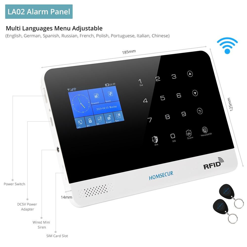 HOMSECUR DIY bezprzewodowe bezpieczeństwo w domu system alarmowy wi-fi gsm pilot aplikacji kontrola karta rfid rozbroić ramię (panel alarmu LA02 PIR itp.)