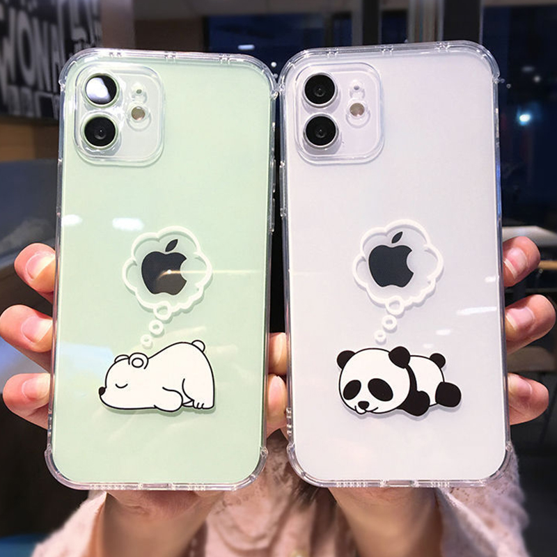 Cute Cartoon Bear Panda Phone Case For iPhone 12 11 Pro Max 11 Pro 12 XS Max XR XS X 7 8 Plus Transparent Soft Shockproof Cover