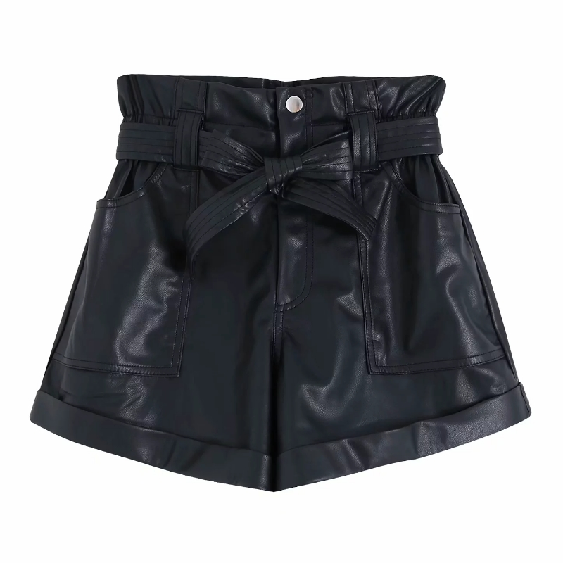 Women Bow Sahes PU Leather Bermuda Shorts Ladies High Waist Pocket Patch Casual Chic Pantalone Cortos Zipper Fly Hot Shorts P563