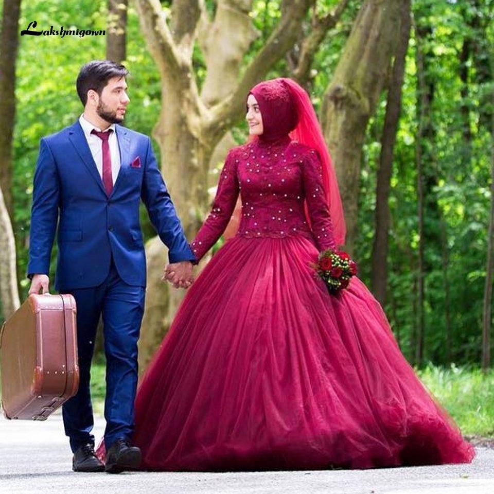 neueste burgund muslimischen hochzeit kleid mit hijab 2020 langarm spitze  appliques brautkleider vestidos kristall hochzeit kleider