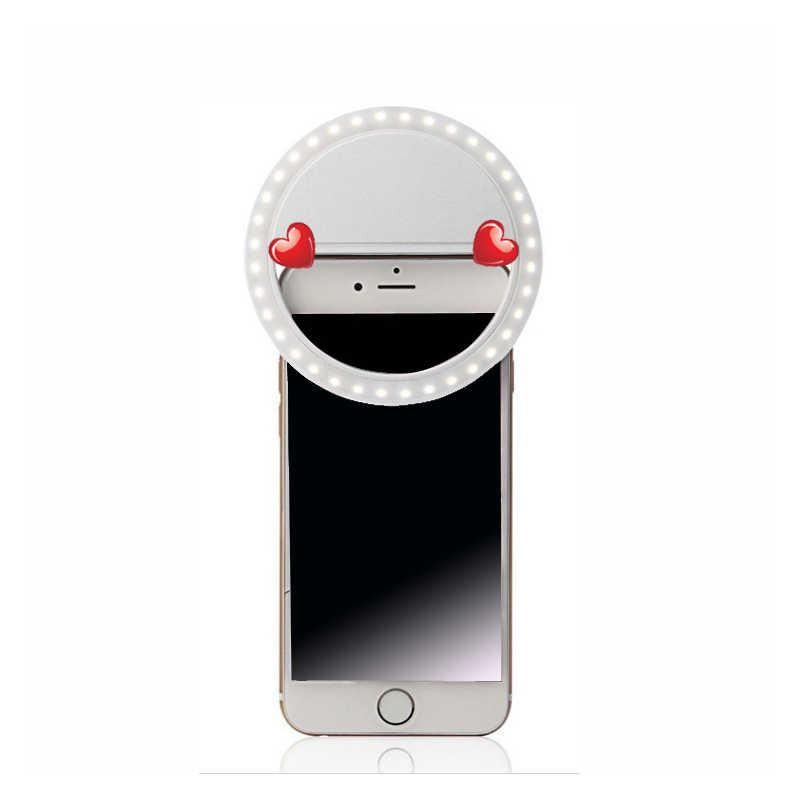 Gậy chụp hình Selfie LED Vòng Đèn LED Di Động Điện Thoại Selfie Đèn Dạ Quang Kẹp Camera Đèn Ảnh Đèn ống kính