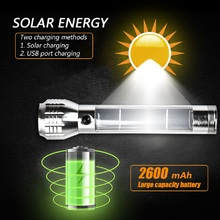 Solar Charge LED Flashlight Energy Saving Torch USB Rechargeable Zoomable Emergency Flashilight