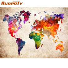 RUOPOTY Frame Diy Painting By Numbers For Adults Map Landscape Paint By Numbers 60x75cm Paint On Canvas Home Wall Art Picture