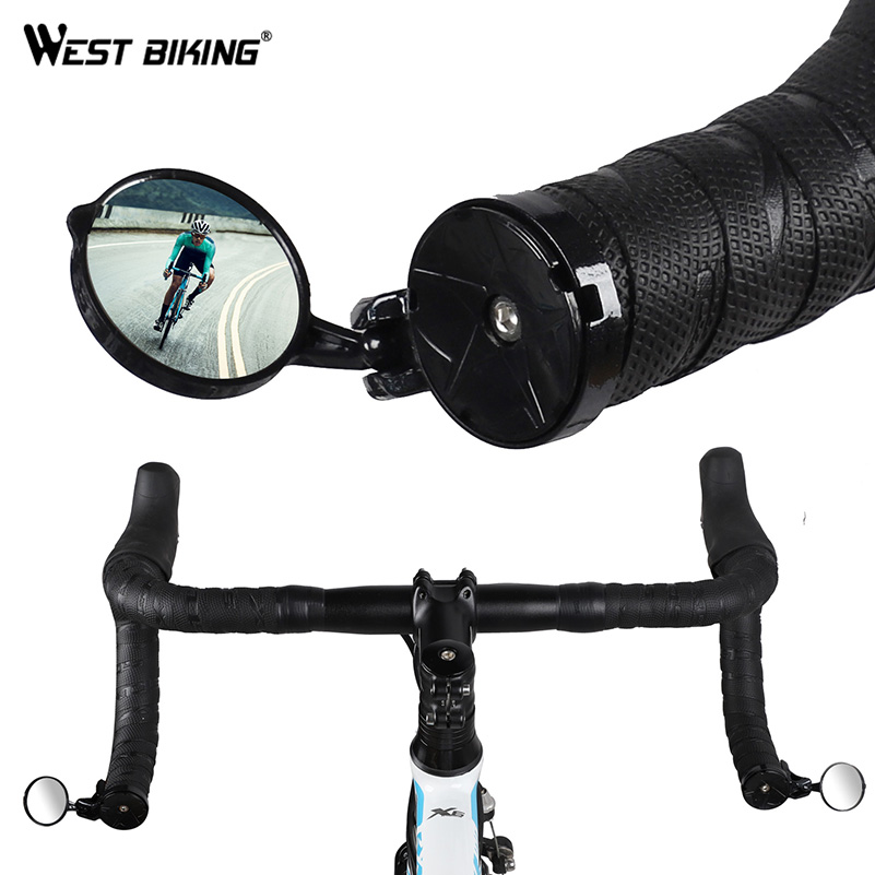 WEST BIKING Bike Rearview Mirror Rotatable Bicycle Handlebar End Back Eyes Mirror Rear Safety Grip Mirrors For Cycling Tool Free