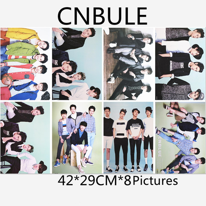 8pcs/Lot Korean KPOP Stars CNBULE Posters Toys Jung Yong Hwa Lee Jung Shin Kang Min Hyuk 8 Pictures K-POP Stickers 42X29CM 1