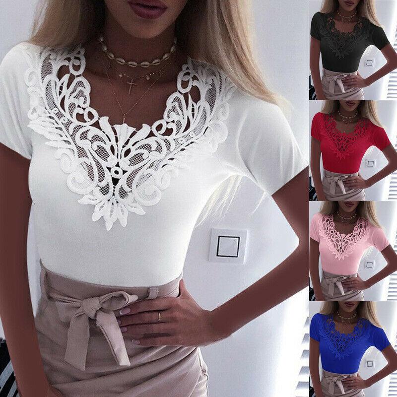 New Women Slim Tunic Lace V Neck T-shirt 2020 Sexy Elegant Summer Short Sleeve T Shirt Lace Flower Plus Size Tops T-shirts S-5XL