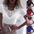 Neue Frauen Schlank Tunika Spitze V Neck T-shirt 2020 Sexy Elegante Sommer Kurzarm T Hemd Spitze Blume Plus Größe tops T-shirts S-5XL